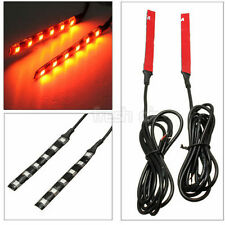 2 x Universal Amber 6 LED Motorcycle Strip Turn Signal Indicator Orange Lights