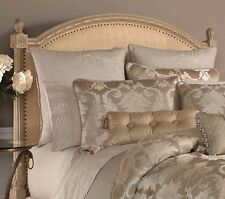 CROSCILL HOME GISELLE 1 EURO PILLOW COVER SHAM EMBROIDERED SCROLL BEIGE