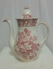 Masons Stratford English Ironstone Coffee Pot Pinnk Red Transferware 5 Cup