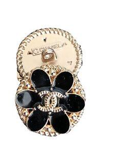 Chanel Button Vtg 20mm Black Flower Stamped