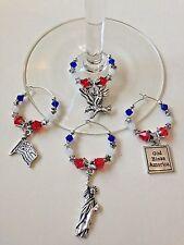 "patriotic wine glass charms ""God bless america"" ""liberty"" ""eagle"" Flag"""