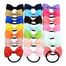 20pcs/Lot Grosgrain Elastic Hair Bow Ties Rope Ring Band Ponytail Holder Flower