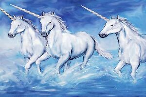 STUNNING UNICORNS CANVAS #9 CHILDRENS BEDROOM A1 A3 PICTURE WALL ART HOME DECOR