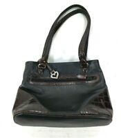 The Brighton Collection Black Brown Leather Woven Shoulder Handbag EUC
