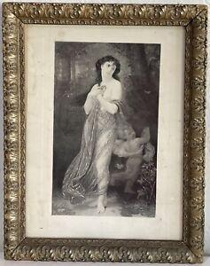"Antique 19th Century Topless Woman And Cherub Print 14""X11"" Original Frame"