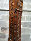 ~ ANTIQUE CARVED OAK NEWEL POST ROSES ~ 49 TALL ~ ARCHITECTURAL SALVAGE ~