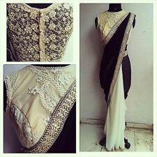 Dernière Indian Designer Noir et Crème Bollywood Style Party Wear Sarees