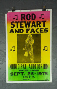 "Rod Stewart w Faces 22"" Concert Poster Bill Advertisement Sept 26 1975 Tennessee"