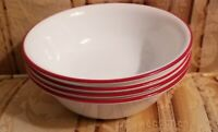 4 Corelle Vitrelle Red Trim Soup Cereal Bowls 6 1/4""