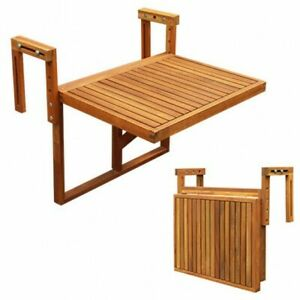 Stockholm Folding Balcony Deck Table, Adjustable, FSC Acacia Wood in 4 Colours