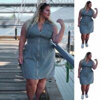 Plus Size Womens Summer Sleeveless Zip Up Casual Denim Dress Mini Jeans Dress US
