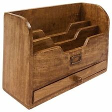 Letter Rack With Drawer Wood Home Storage Mail Organizer Wooden Chic Shabby Gift