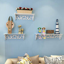 3 X White Chic Filigree Floating Wooden Wall Shelf CD Book Display Storage Unit