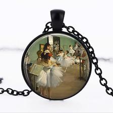 THE DANCE CLASS Black Glass Cabochon Necklace chain Pendant Wholesale