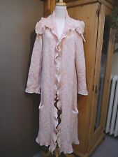 LAINEY KEOGH pink off-white lacey knit cashmere long cardigan sweater coat
