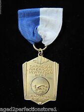 Vintage Canadian American Invitation Meet Swimming Sports Medallion Watertown NY