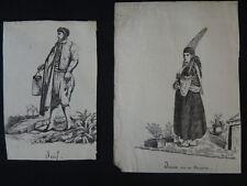 Dessins VACCARI Album africain costumes 1831 Juif Alger orientalist Jewish XIX