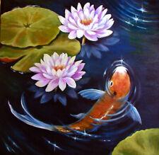 "ORIGINAL Oil Koi  Painting Botanical ART     20"" x 20"" Collected Sherry Price"