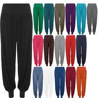New Plus Size Womens Plain Full Long Elastic Ladies Harem Trousers Pants 16 - 26