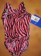New Motionwear Gymnastics Tank Leotard Pink Black Zebra Print Velvet Xschild 2-3