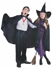 "CHILD BLACK 32"" CAPE STAND UP COLLAR VAMPIRE MAGICIAN WITCH COSTUME FW9166"