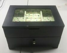 JEWELRY BOX Kohl's 1 Drawer Ring Compartments Black Wooden Polka Dot Green