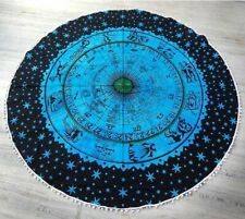 """Yoga Mat Big Roundie With PomPom Zodiac Sunsign 72"""" Inches Fabric Indian Blue"""
