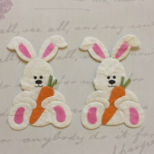 SET OF 2 LARGE WHITE & PINK EASTER BUNNY RABBIT WITH CARROT CARD TOPPER SET