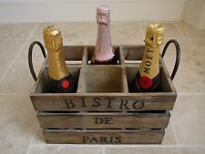 French Vintage Style Wooden Crate Wine Bottle Display Storage Rack