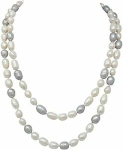 Elegant and Classic Long White and Grey Freshwater Pearl Necklace for Women