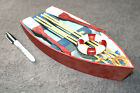 Wood model ship large scale row boat detailed simple Beach nautical decor odd ZV