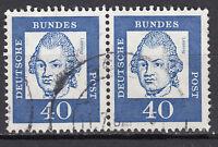 BRD 1961 Mi. Nr. 355 Fl. Papier Waagerechtes Paar Gestempelt (18190)