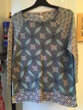Beautiful Ladies White Stuff Size 12 Blue/Beige Fine Knit Top Linen/Cotton Mix