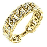 Link Design Ring Genuine Diamonds 1/4 cttw 14K. Solid Yellow Gold Size 7 Sizable
