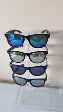 Cheap Bulk Lot of 4 Fashion Sunglasses Classic Round Mirror Lens Black Silver