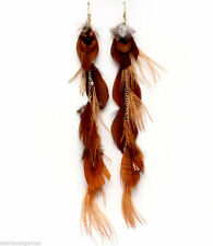 "Rust Brown 10"" Unique Feather feathered Dangle Long Earrings Nice Quality"