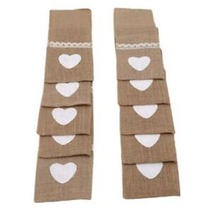 Burlap Cutlery Pouch Bag Wedding Lace Holder Party Table Tableware Decor GR