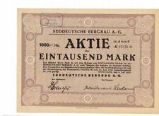 Süddeutsche Bergbau AG  München 1923  ungelocht / Coupons