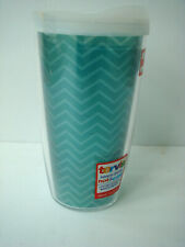 NEW TERVIS Teal Chevron Tumbler Glass 16oz with white lid