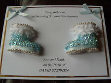 Handmade Personalised Congratulations To The Grandparents New Baby Boy Card