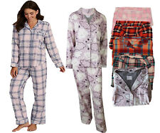 ex M&S Collection Ladies Womens Pyjamas Pure Cotton Check Cloud Pattern Collar