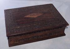 "Carved Book Style Solid Walnut Decorative Box  8"" x 6"" x 2 1/4"""