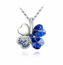 "Four Leaf Clover Swarovski Element Crystal Necklace 16"" With Gift Box"