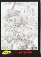 Mars Attacks The Revenge Black [55] Pencil Art Base Card P-42 On the Run