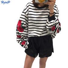 Harajuku Roses Embroidery Sleeve Loose Striped Women Sweatshirt Girl Vintage Top