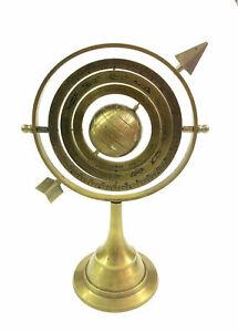 Nautical Antique Maritime Brass Armillary Sphere with Arrow Engraved Globe Decor