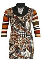 SAMYA PLUS SIZE 3/4 SLEEVE ABSTRACT PATTERNED DRESS BROWN RRP £28.00