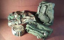 Mixed Lot of 4 Vintage US Military Items, Strap, Barrack Bag, Shirt, Sm Backpack