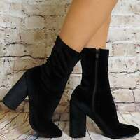 BLACK VELVET ROUND HEEL SOCK STYLE PULL ON ANKLE BOOTS HIGH HEELS SHOES SIZE 7 8