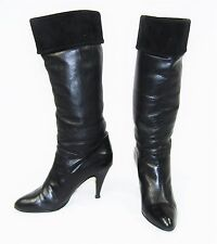 Vintage 80's PHILIP LAWRENCE Black Leather Suede High Heel Pirate Boots Size 6 B